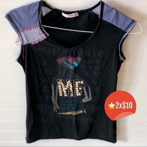 Distress Embroidery Girl T-Shirt ⭐️2x$10⭐️